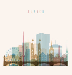 Zurich skyline detailed silhouette transparent vector