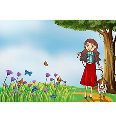 A lady and her pet vector image vector image
