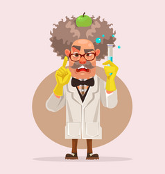 crazy scientist man character holding flask vector image vector image