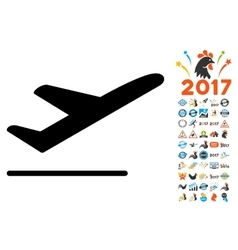 Departure Icon with 2017 Year Bonus Pictograms vector image vector image
