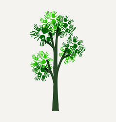 green hand print tree for nature help vector image