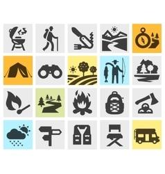 hiking black icons set trip walking tour or vector image vector image