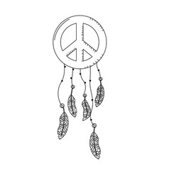 line hippie emblem symbol with feathers design vector image vector image