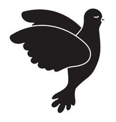 pigeon peace flying in side view on monochrome vector image