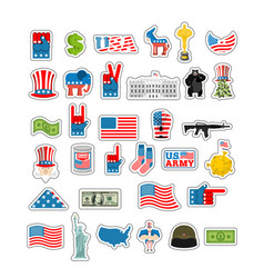usa sticker set national sign of america american vector image vector image