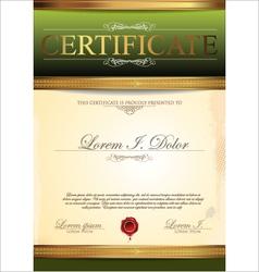 Certificate green template vector
