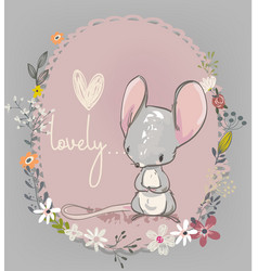 cute little mouse with flowers vector image