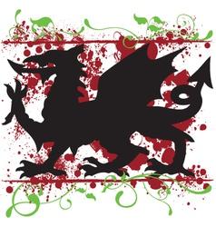 Heraldic Welsh Dragon Design vector image vector image