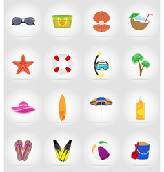 objects for recreation a beach flat icons 17 vector image vector image