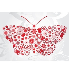 Red flower butterfly vector image
