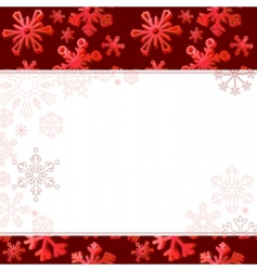 red frame with big snowflakes vector image