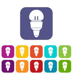 reflector bulb icons set vector image vector image