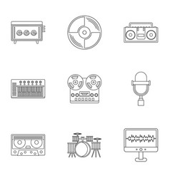 sound studio icon set outline style vector image vector image