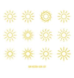 sun symbol icon set vector image vector image