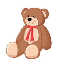 teddy bear with ribbon poster vector image vector image