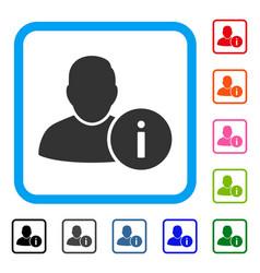 user info framed icon vector image