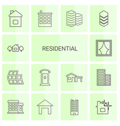 14 residential icons vector image