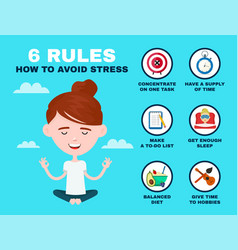 6 rules to avoid stress infographic young vector