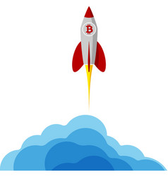 a rocket with bitcoin logo flying into space vector image
