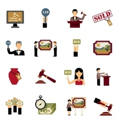 Auction Icons Set vector image