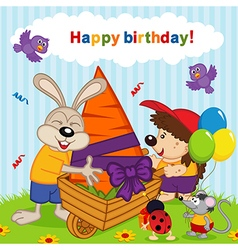 Birthday rabbit vector