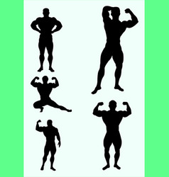 body builder sport silhouette vector image