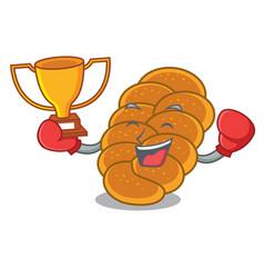 Boxing winner challah mascot cartoon style vector