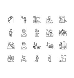 building contractors line icons linear signs vector image