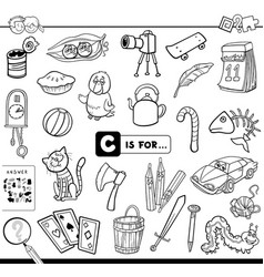c is for educational task coloring book vector image