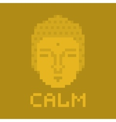 Calm pixel buddha vector image