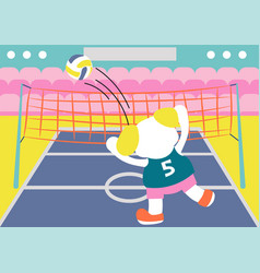Cartoon cute dog volleyball player kids vector