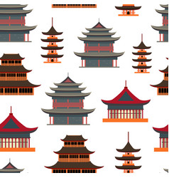 cartoon traditional asian house seamless pattern vector image
