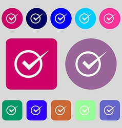 Check mark sign icon Checkbox button 12 colored vector