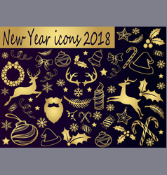 christmas and new year golden icons vector image