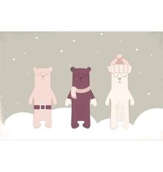 Christmas card of three polar bears with scarf vector image