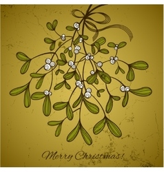 Christmas card with branch of mistletoe vector