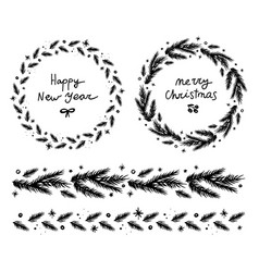 christmas fir wreath and garland vector image
