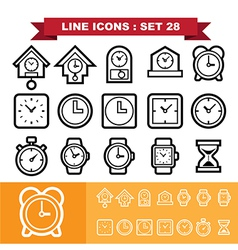 Clock line icons set 28 vector