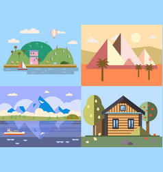 color flat icon set and urban vector image