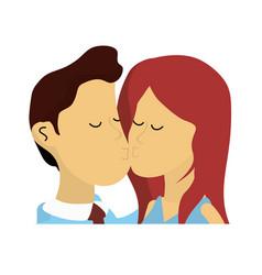 cute couple kissing a romantic scene vector image