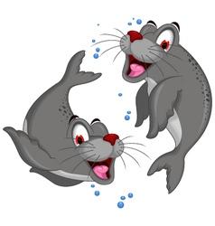 cute couple of Bull Elephant Seal vector image
