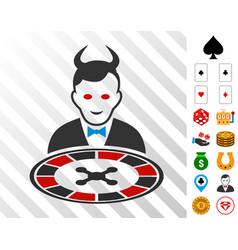 Devil roulette dealer icon with bonus vector