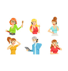 different people talking on smartphones set young vector image