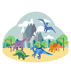 Dinosaurs prehistoric animals on nature set in vector
