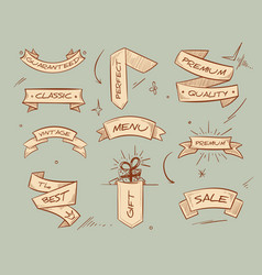 doodle retro ribbon banners with hand drawn retail vector image vector image