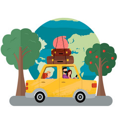 family is going on vacation on weekend car vector image