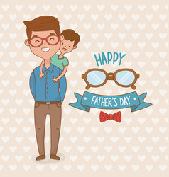 father and son characters card vector image