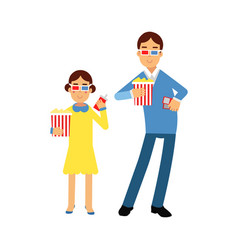 father with his daughter wearing 3d glasses vector image