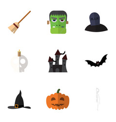 Flat icon halloween set of witch cap cranium vector