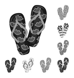 Flip-flops monochrome icons in set collection for vector